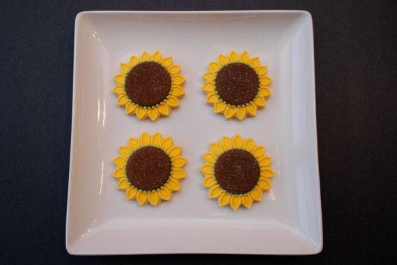 Another favor idea. 12 Sunflower Sugar Cookie Favors (Nut free)