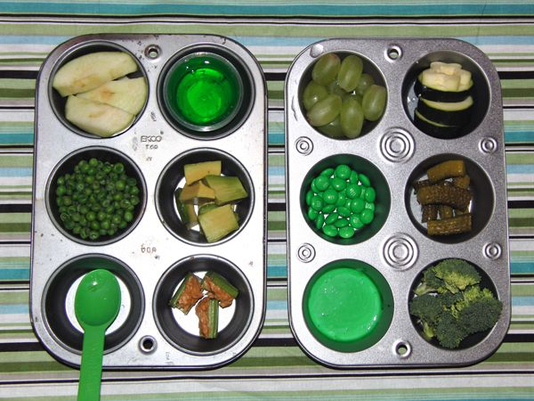 GREEN taste testing ~ kids activity ~  includes a printable taste testing printable chart ~ use muffin tins to house samples ~ it would be fun to do blindfolded and record responses for older kids ~ shabbybeachnest.com