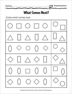 Recognizing Patterns What Comes Next Basic Concepts Activity