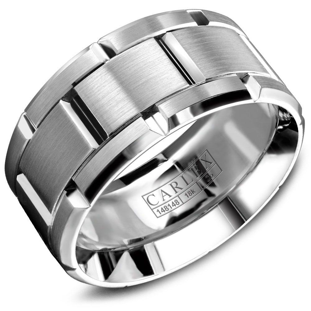 Carlex Sport 18k White Gold Men's Wedding Band WB9489WC