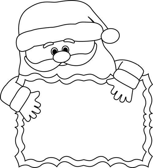 Black And White Santa Sign Clip Art Black And White Santa Sign Image Santa Coloring Pages Clip Art Cheap Easy Halloween Decorations