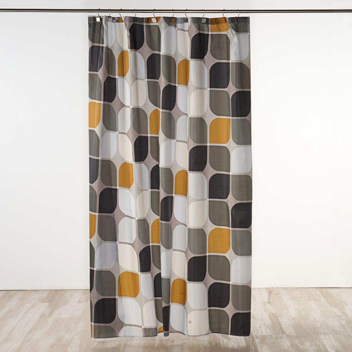 Cortinas de ba o modernas mosaico cortinas de ducha con dise o moderno de mosaico en grises y - Cortinas de bano de diseno ...
