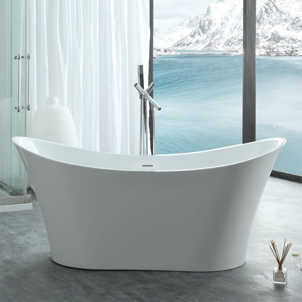 Layla 67 inch acrylic double slipper freestanding tub - no faucet ...
