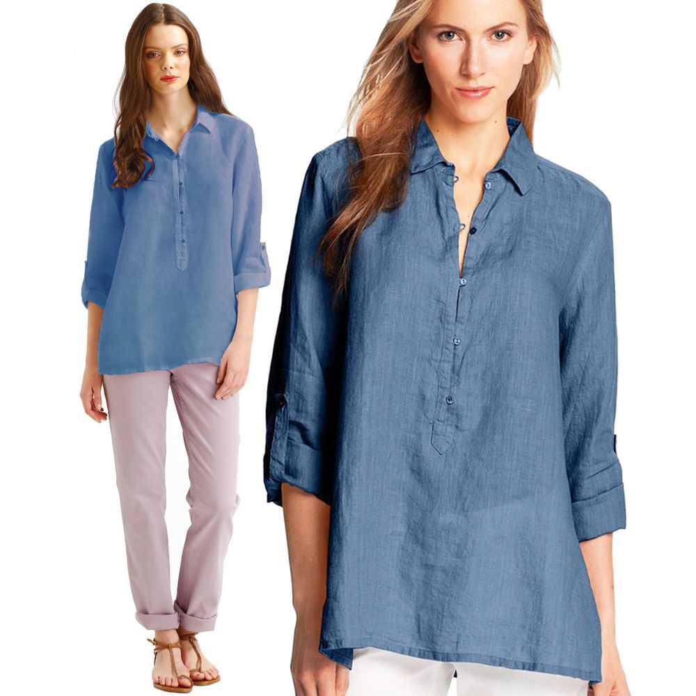 Eileen Fisher 100 Irish Linen Popover Shirt Blue Tunic Trapeze Blouse Top Large Eileenfisher Buttondownshirt Casual Popover Shirt Blue Tunics Shirts Blue