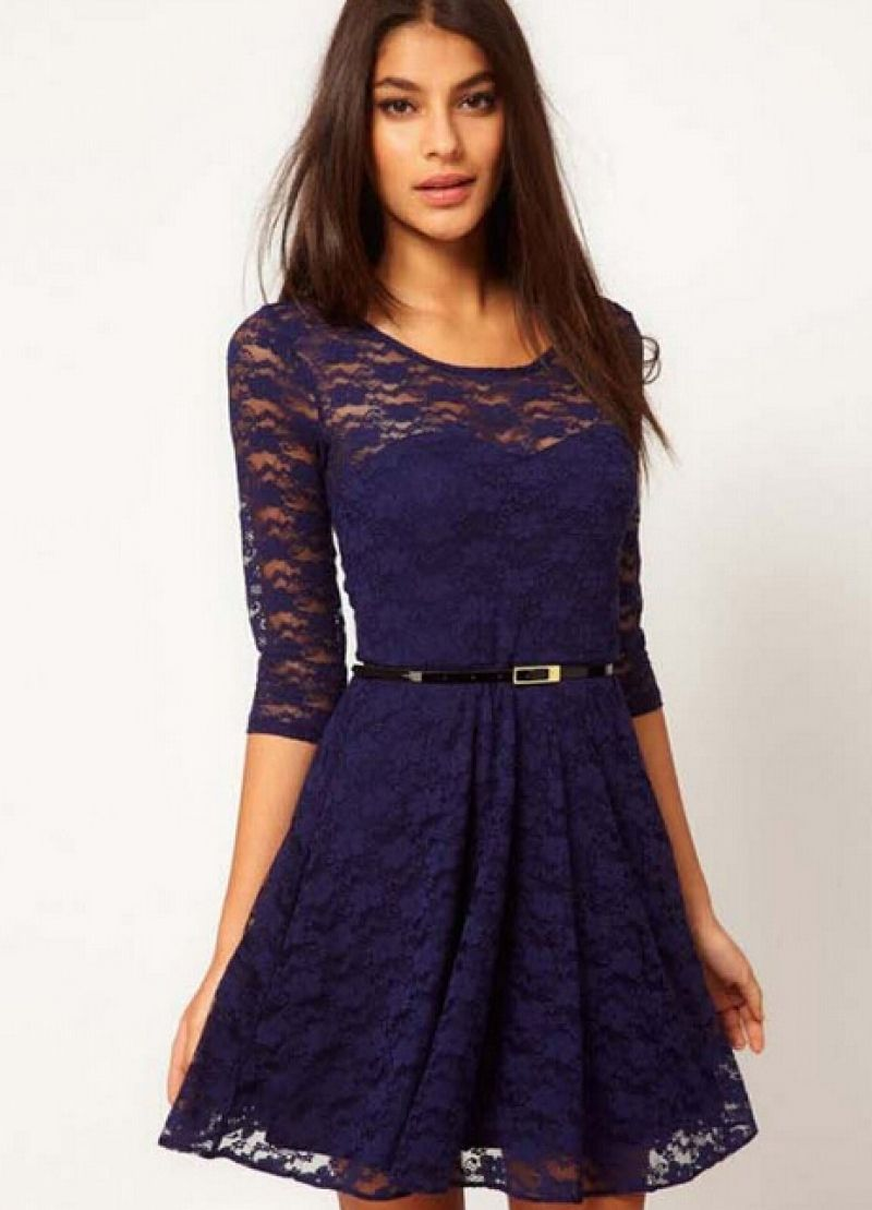 15f0486ba6b Navy Round Neck Belt Lace Dress