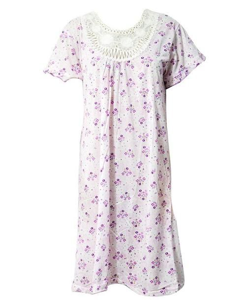 Stylish White Long Nighty With Purple Flower Print 111.9