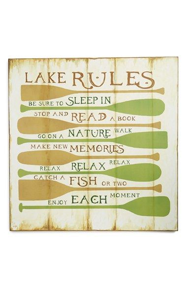 Creative Co-Op \'Lake Rules\' Decorative Wall Plaque - White ...