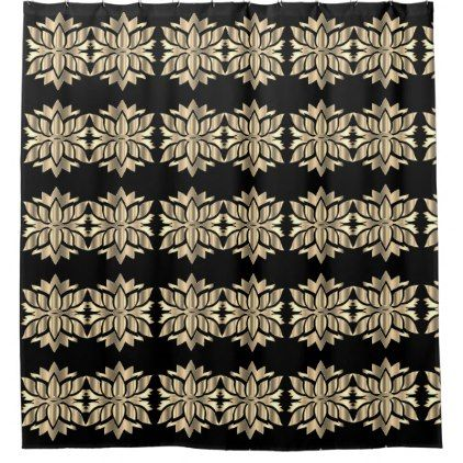 #Black and Gold Lotus Flower Shower Curtain - #Bathroom #Accessories #home #living