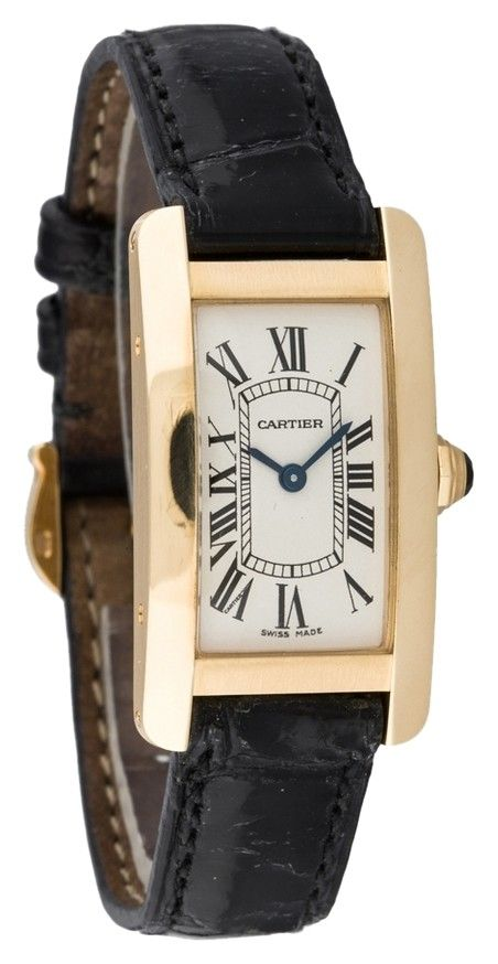 78b2f61f453b Get the lowest price on CARTIER TANK AMERICAINE 18K YELLOW GOLD LADIES  WATCH and other fabulous designer clothing and accessories! Shop Tradesy now