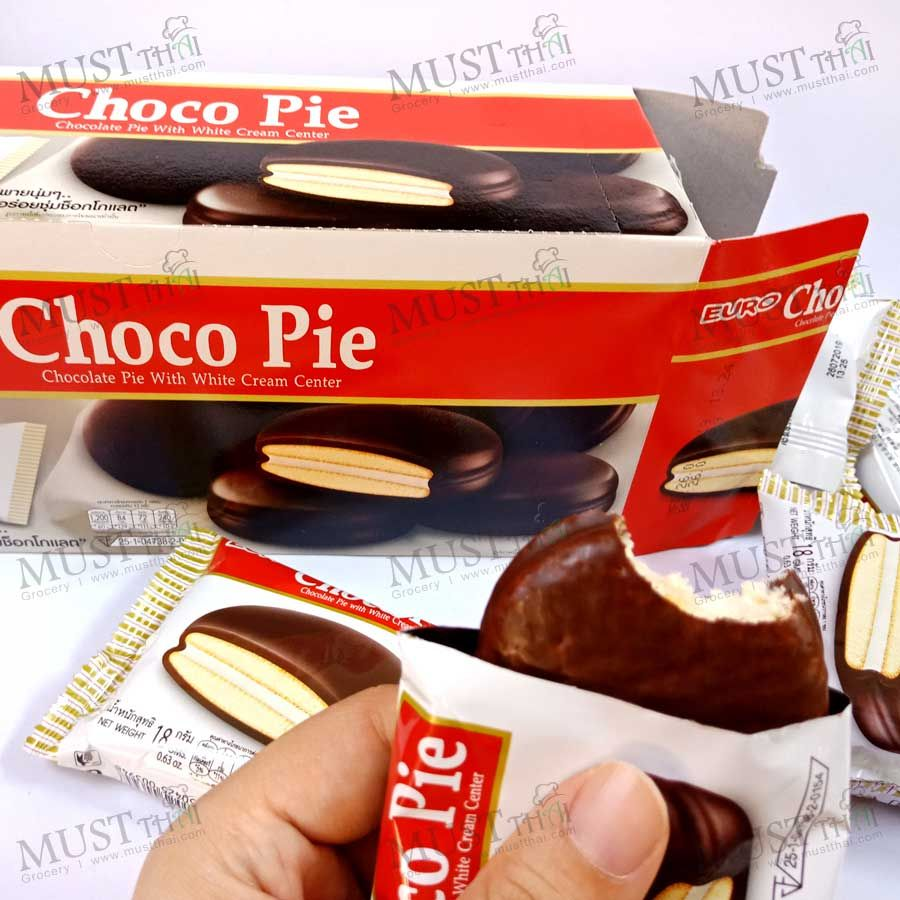 Chocolate Pie With White Cream Center Thai Grocery Online Choco Pie Chocolate Pies Cookie Bakery