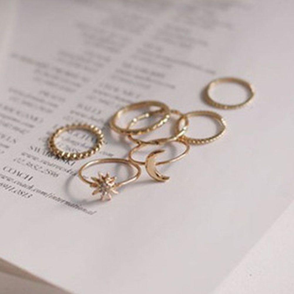 14 PCS//set BOHO Moon /& Sun Knuckle Opal Finger Ring Set Leaf Flower Midi Rings