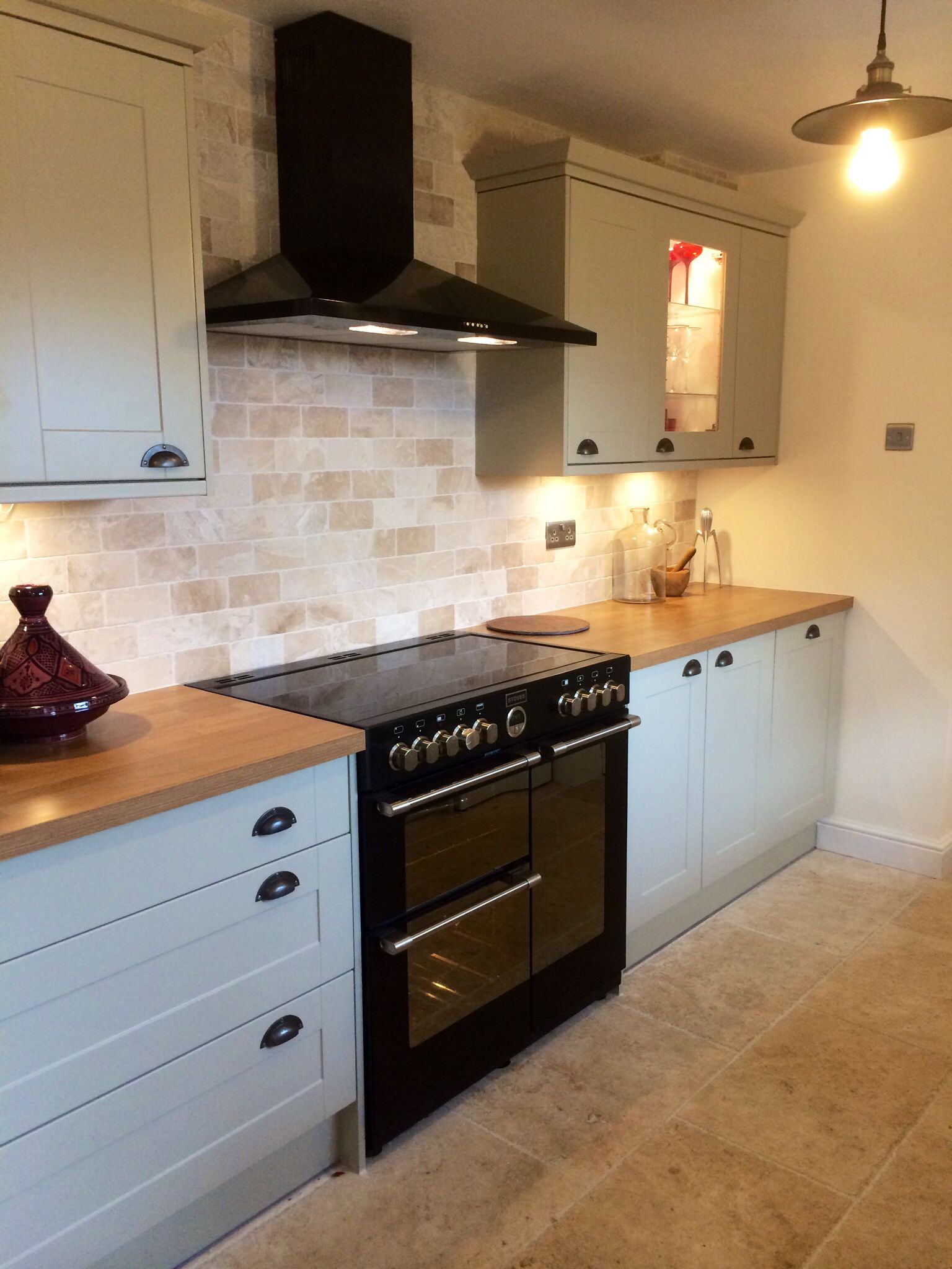 Howdens Burford Grey Kitchen With Tumbled Marble Tiles And