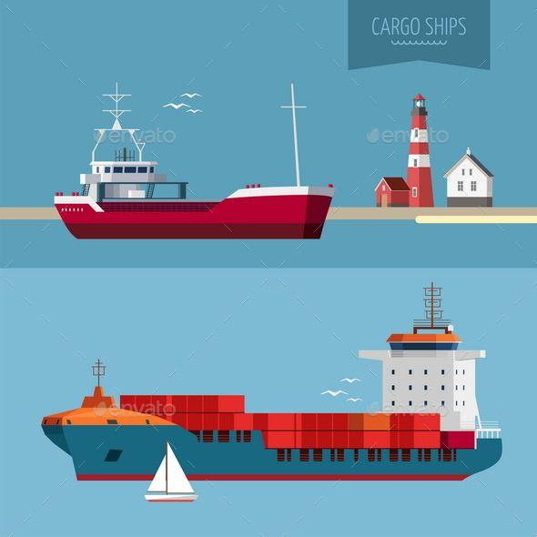 Transportation Cargo Ship Illustration Cargo Ship Illustration Cargo Shipping Cartoon Ships