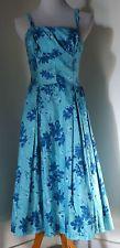 True Vintage 50s Hawaiian Blue Fit Flare Swing Dress PARADISE HAWAII Sz 16 L XL