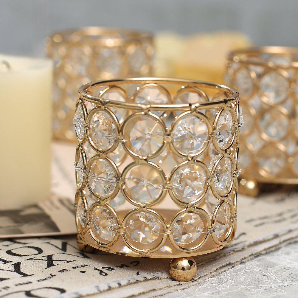 VINCIGANT Round Crystal Candle Holders for Jar Candles ...