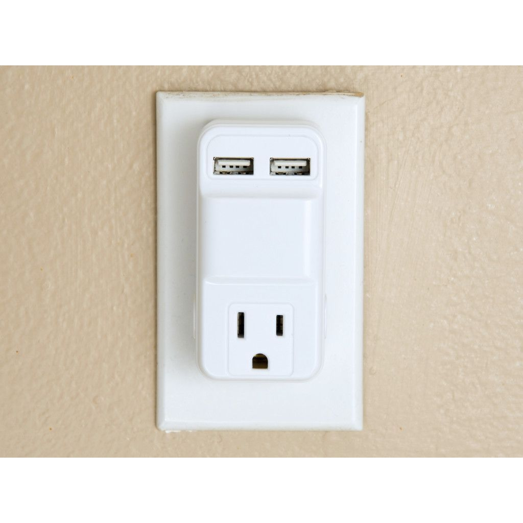 2 Usb With 3 Prong Outlet Wall Charger Adapter White 1 Vs Outlets
