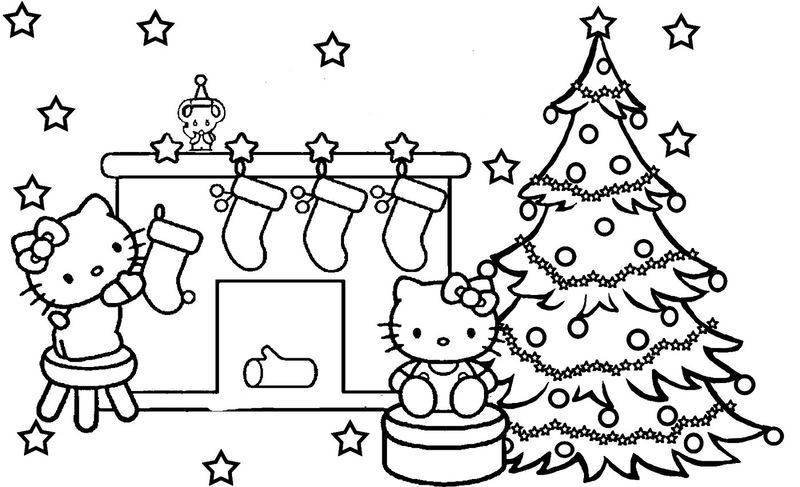 Hello Kitty Christmas Tree Coloring Page Halaman Mewarnai Buku