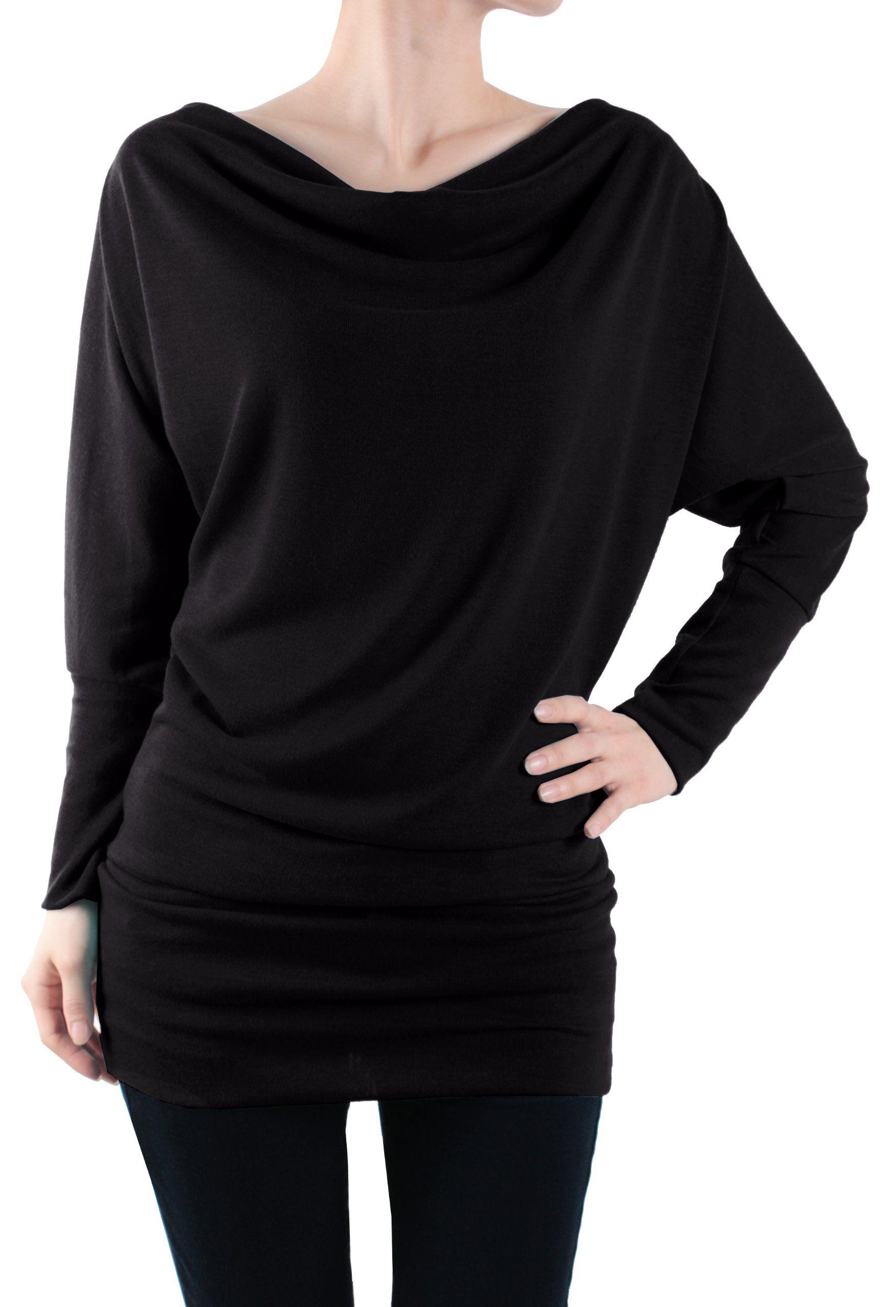f75b548550f6 LeggingsQueen Women's Long Sleeve Basic Tunic Top at Amazon Women's  Clothing store: Fashion T Shirts