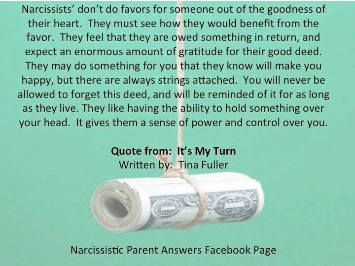 Image result for narcissist don't do favors