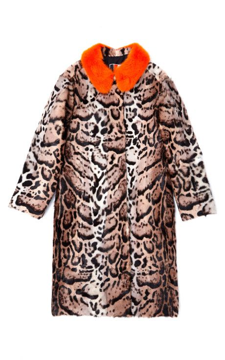 Leopard Pony Hair Coat With Orange Fur Collar by MSGM for Preorder on Moda Operandi