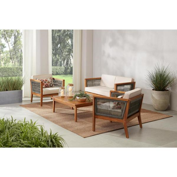 Hampton Bay Willow Glen Farmhouse 4 Piece Wood Patio Conversation Set With Teak Finish And Beige Cushions 81884 The Home Depot In 2020 Patio Seating Sets Teak Patio Furniture Small Patio Furniture