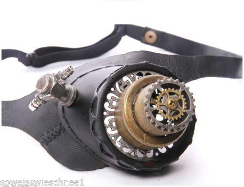 RQ-BL-Steampunk-LED-Leder-Monokel-Brille-Goggles-Leather-Gothic-SP103-Bronze-WGT