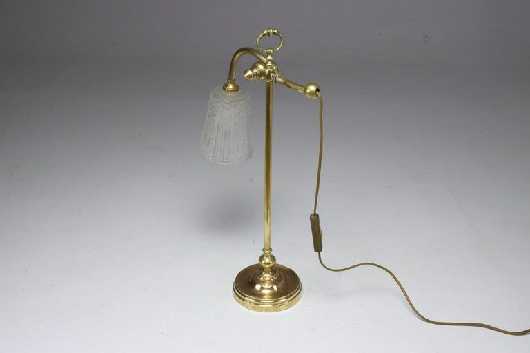 French Muller Freres Art Deco Brass Table Lamp 1930s Art Deco Chandelier Brass Table Lamps Lamp
