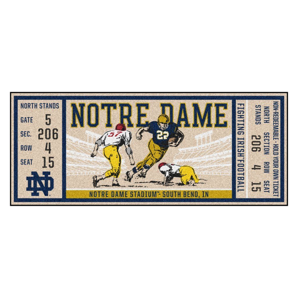 """Notre Dame Ticket Runner 30""""x72"""" Game tickets, Dame game"""