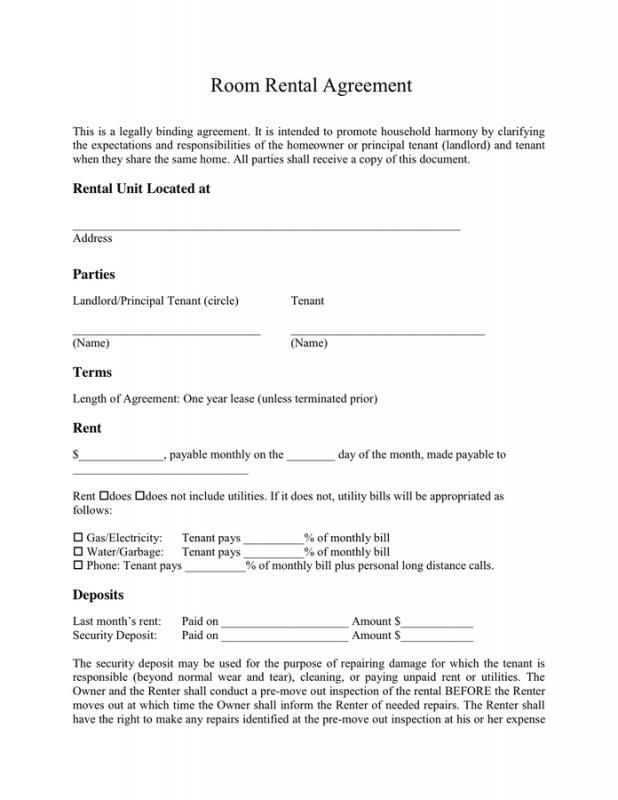 Simple One Page Rental Agreement Template Pinterest Room