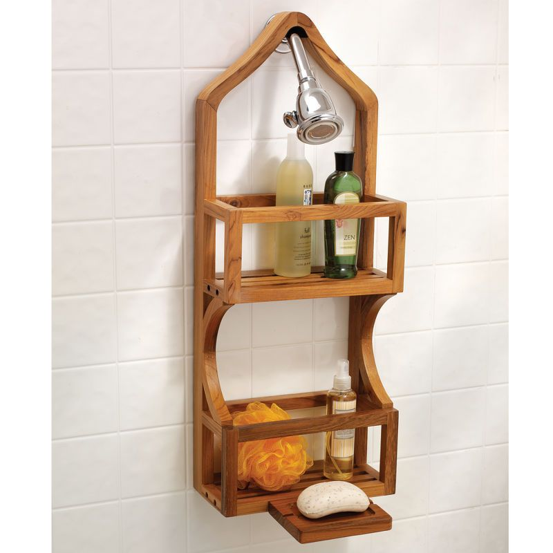 Teak shower caddy with more conventional design. | Home items I\'d ...