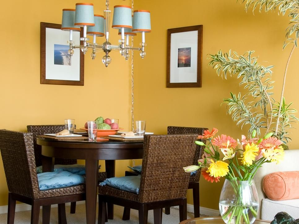 Our Fave Colorful Dining Rooms  Mustard Yellow Walls Hgtv And Interesting Dining Room Color Design Ideas