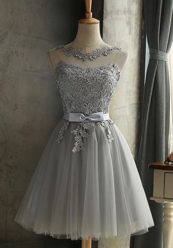 Grau Spitze Rundhals Rückenfreies Tüllkleid Sexy Abschlusskleid Abendkleider Kurz Brautjungfernkleid #cocktails