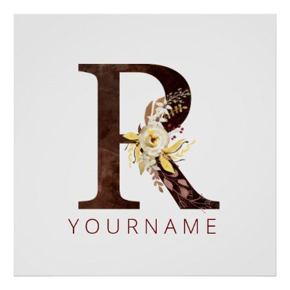 Floral Monogram R Rich Autumn Foliage Poster | Zazzle.com #autumnfoliage