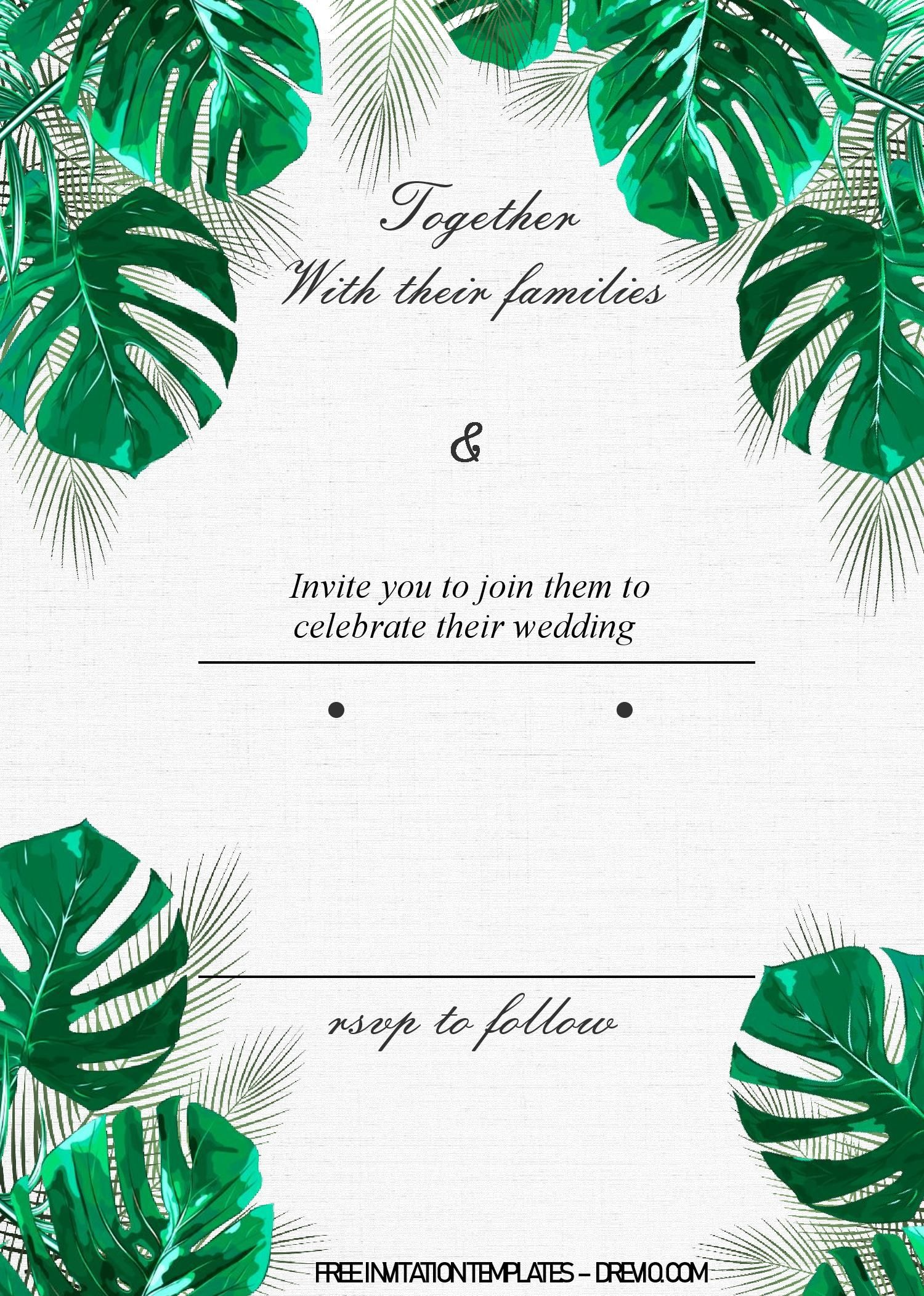 Tropical Leaves Invitation Templates Editable With Ms Word Leaf Invitations Invitation Template Printable Invitations Rose gold foil metallic tropical leaves romantic announcement postcard | zazzle.com. invitation template printable invitations