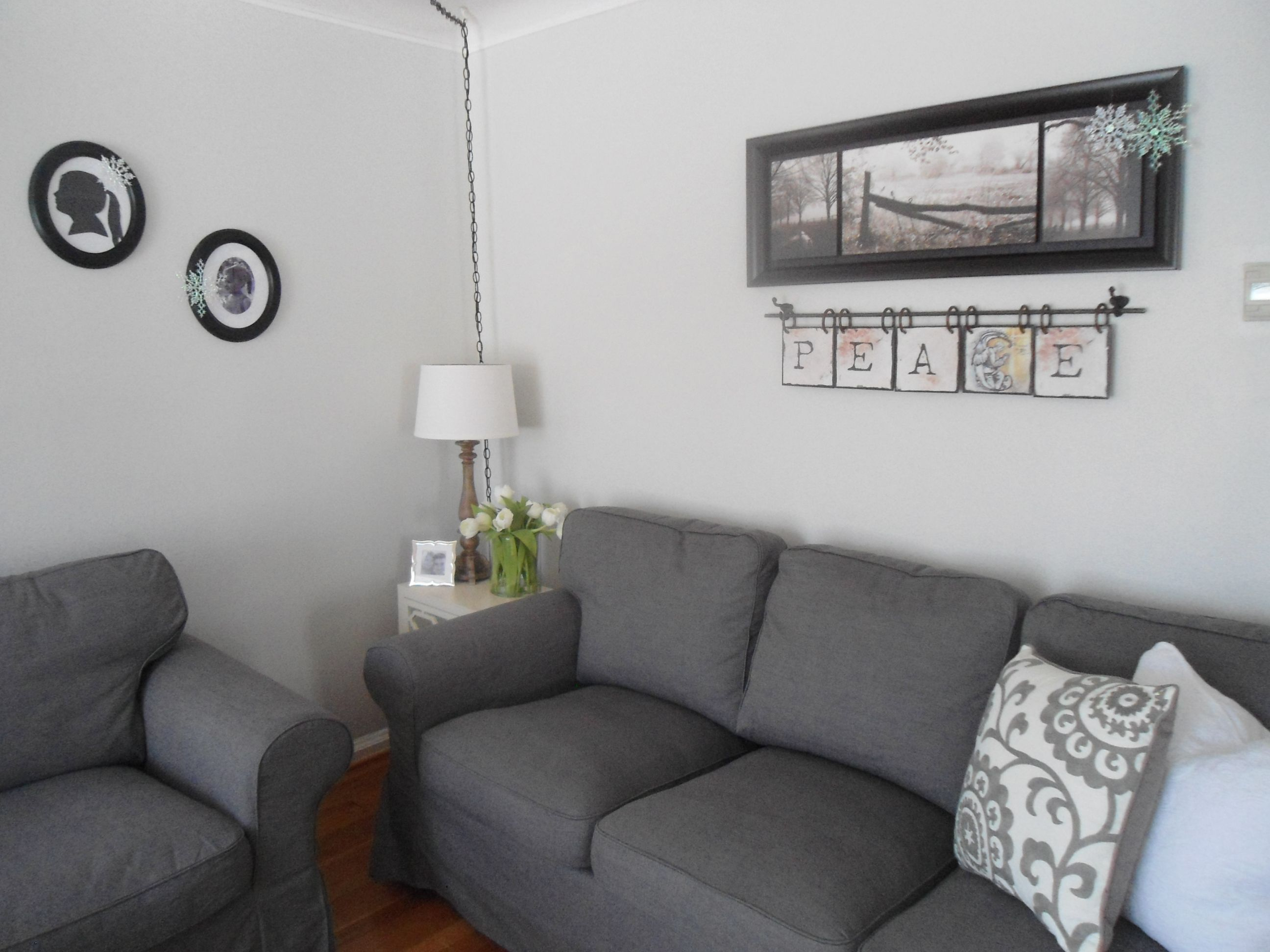 Grey Half Couch Neutral Living Room Paint Color Is Benjamin Moore Gray
