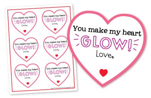 """Cute valentine for students! """"You make my heart GLOW!"""" Attach a glow stick from the dollar store. Easy and cheap! Click to find the FREE DOWNLOAD for this valentine!"""