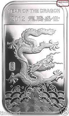 Year Of The Dragon Silver Bar Sealed Unc 1 Troy Oz 999 Fine Silver Bullion Silver Bars Gold Bullion Bars Year Of The Dragon