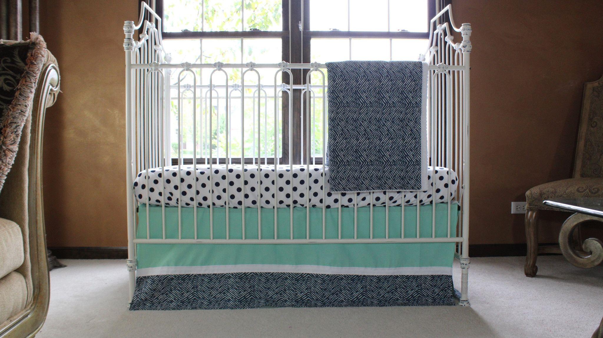 Alexander S Mint And Navy Chevron Crib Bedding Daybed Bedding Chevron Crib Bedding Baby Crib Bedding Chevron Baby Bedding