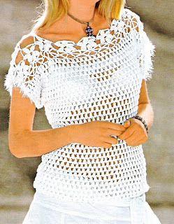Patrones de Tejido Gratis - Jersey blanco con canesú de flores
