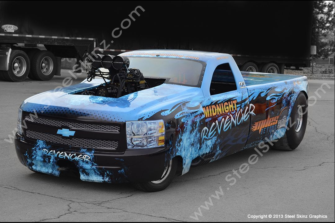 Midnight Revenger Pull Truck owned by Jared Nelson. Midnight Revenger Pull Truck wrap by Steel Skinz Graphics. http://www.steelskinz.com/