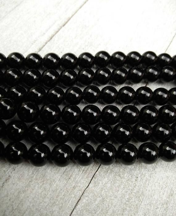 Black Onyx Beads 6 mm Jet Black Round Gemstones Yoga Mala Religious Rosary Jewelry Findings Beading Supplies Bracelet Necklace Earrings Gift #rosaryjewelry