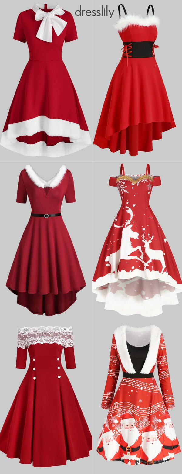 Christmas Red Dresses Women Fit & Flare Dresses