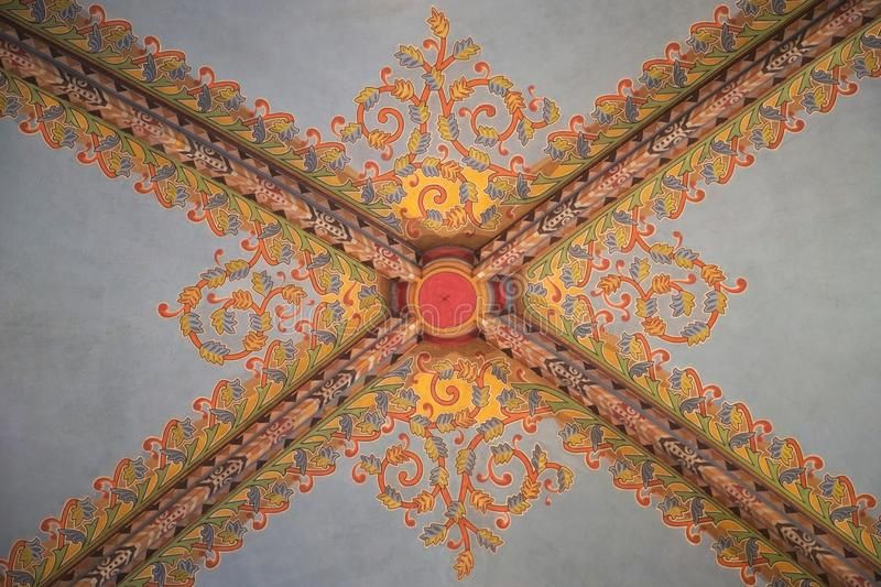 Decorated Ceiling The Ceiling Of A Church Decorated In Colourful Intricate Geom Ad Church Decorated Decorated C Ceiling Geometric Pattern Geometric
