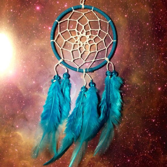 Pictures Of Dream Catchers Blue Dream Catcher Faux Suede Blue Feathers White Web And & Glass