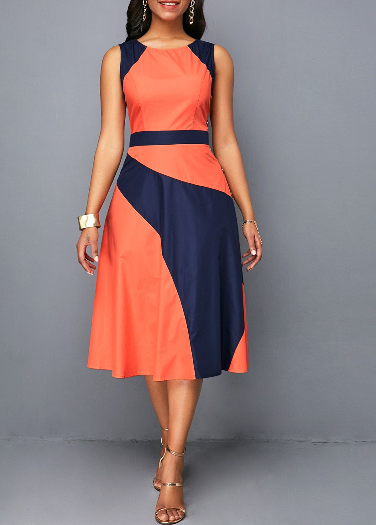 Sleeveless High Waist Button Detail Dress Rosewe Com Usd 29 96 Moda Evangelica Vestidos Longos Vestidos Estilosos Moda Evangelica Vestidos [ 1674 x 1200 Pixel ]