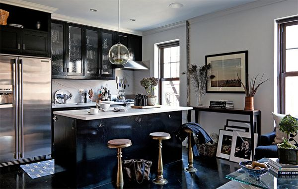 A Nyc Bachelor Pad Masculine Kitchen Cool Room Designs