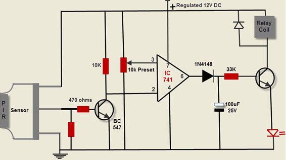 motion detection circuit using pir sensor electrical pinterest rh pinterest com