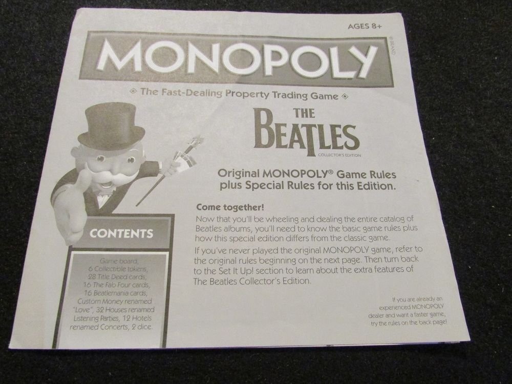2010 Monopoly The Beatles Edition Instructions Pinterest