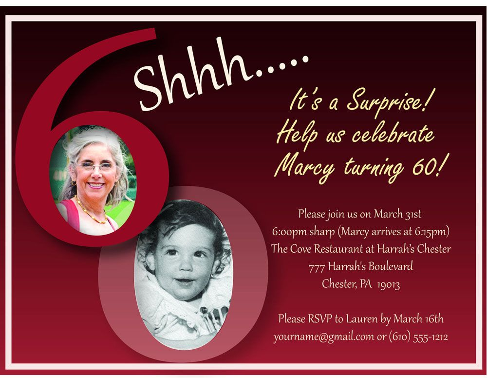 Sample Surprise 60 Birthday Party Invitations In 2019 60th