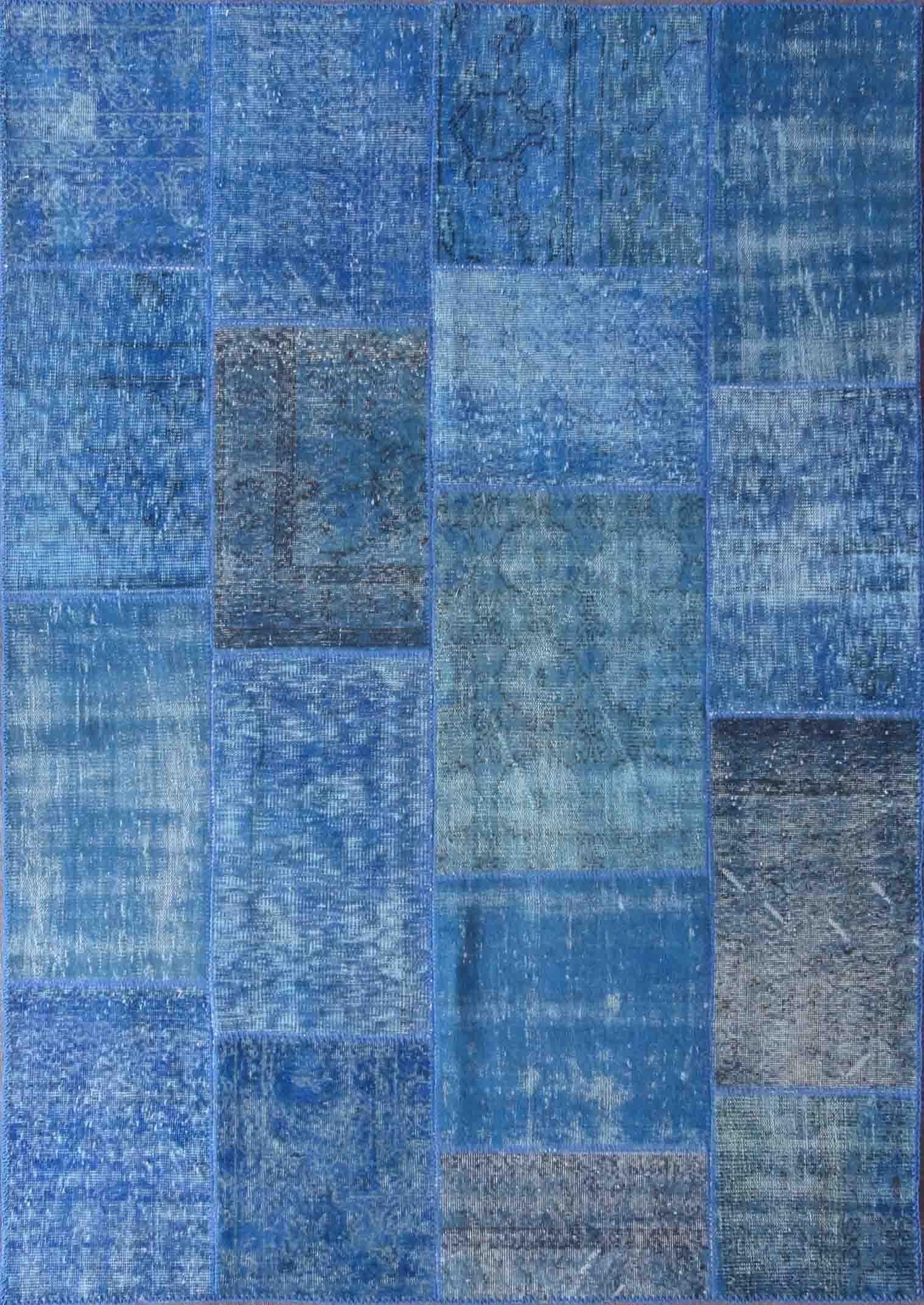 Rugsville Vintage Turkish Overdyed Patchwork Mazzarine Blue Rug 11079